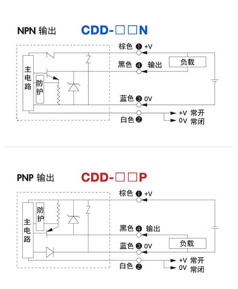 CDD 系列 金属圆柱型漫反射光电开关-接线图