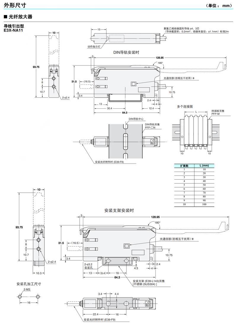 E3X-NA11、FS-V11 光纤放大器光纤传感器光纤感应头-尺寸图