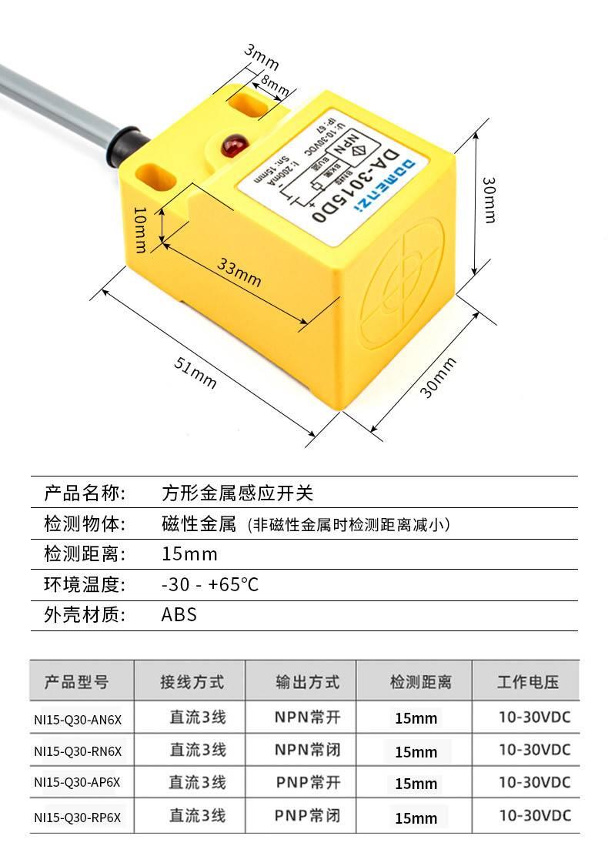 NI15-Q30系列 方型30x30mm 电感式接近开关-尺寸图