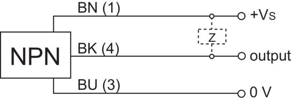 堡盟 CFDK 30N3600/S14 订购代码:10119713 电容式接近开关-接线图