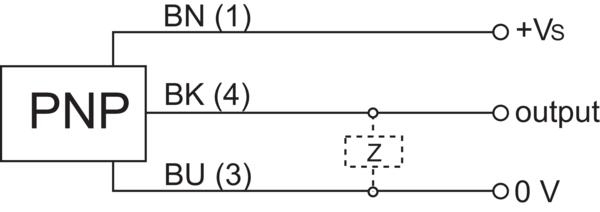 堡盟 CFDK 30P1600/S14 订购代码:10238893 电容式接近开关-接线图