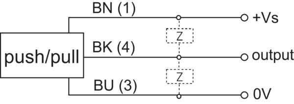 堡盟 CFDK 25G3125/LN5 订购代码:11093424 电容式接近开关-接线图