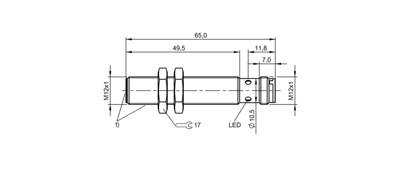 BES M12EI-PSC40B-S04G-S (BES02NA) 耐高压接近开关-尺寸图