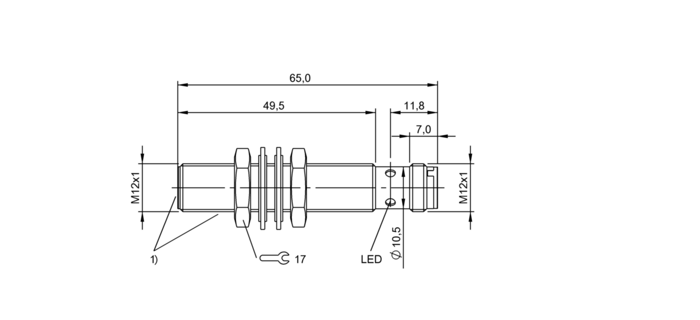 BES M12EI-PSC40B-S04G-S01 (BES02NC) 耐高压接近开关-尺寸图