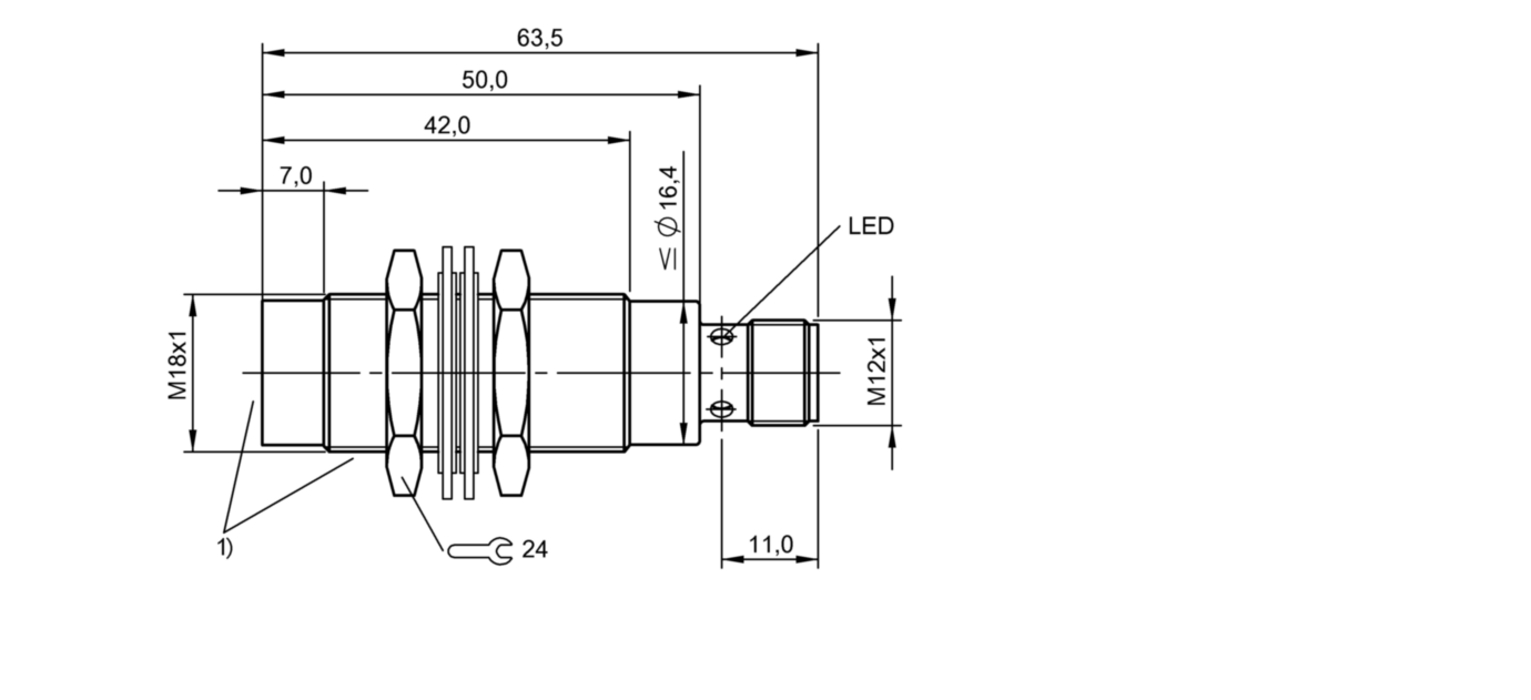 BES M18EF1-PSC20F-S04G-S (BES02Y1) 耐高压接近开关-尺寸图