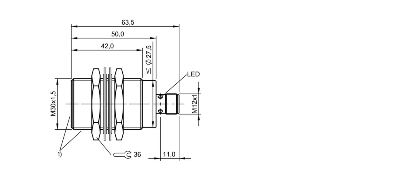 BES M30EG1-PSC20Z-S04G-S11 (BES02YF) 耐高压接近开关-尺寸图
