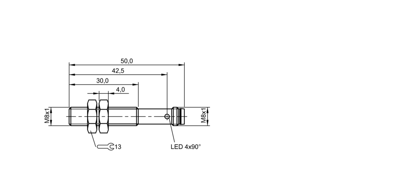 BES M08EE1-NSC20B-S49G-S (BES03Z3) 耐高压接近开关-尺寸图