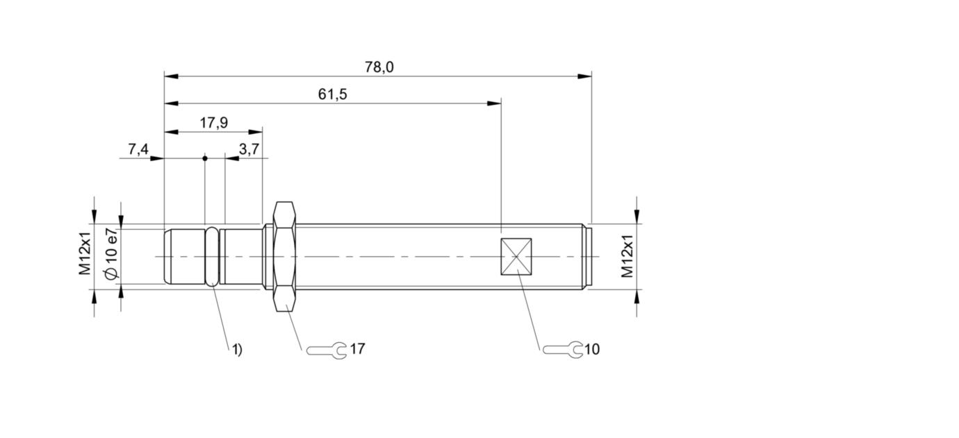 BES 516-100-S45-S4-D (BHS0001) 耐高压接近开关-尺寸图