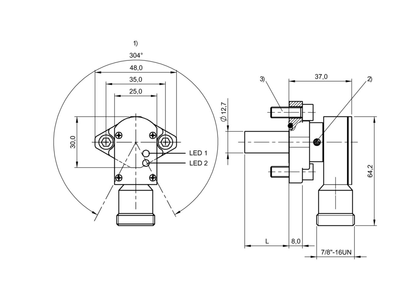 "BES 516-200-S2/1.025""-S5 (BHS0006) 耐高压接近开关-尺寸图"