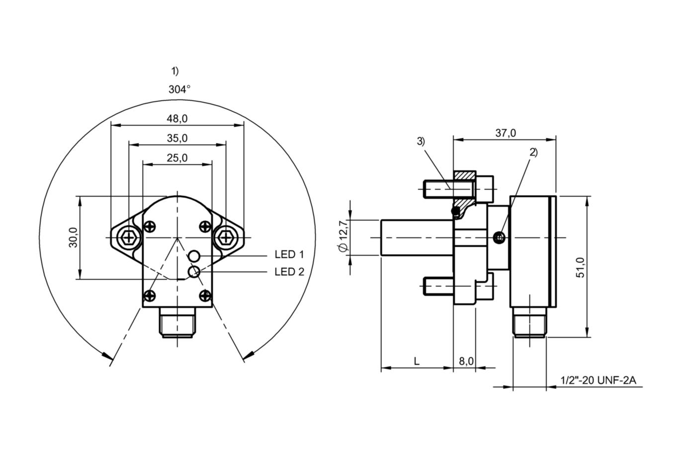 "BES 516-200-S2/1.500""-S21 (BHS000H) 耐高压接近开关-尺寸图"