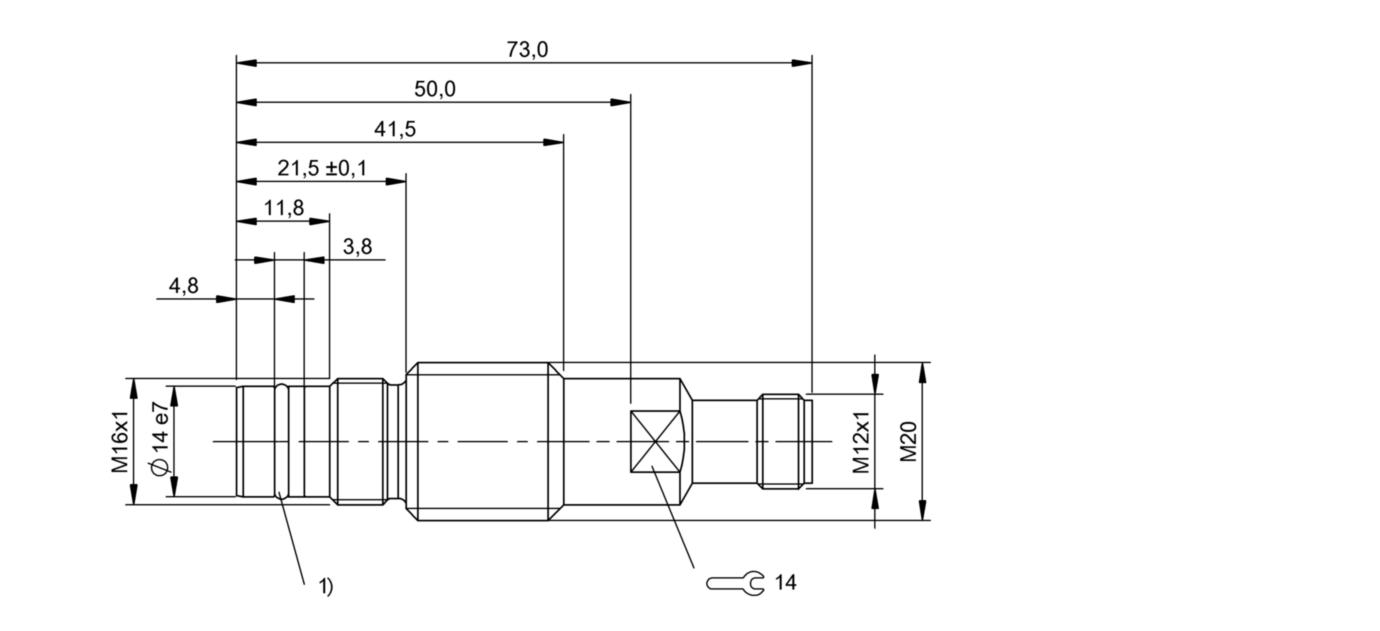 BES 516-300-S128-S4-D (BHS001C) 耐高压接近开关-尺寸图