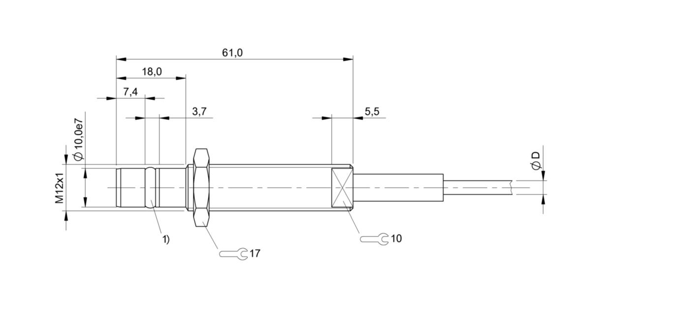 BES 516-300-S135-D-PU-05 (BHS001F) 耐高压接近开关-尺寸图