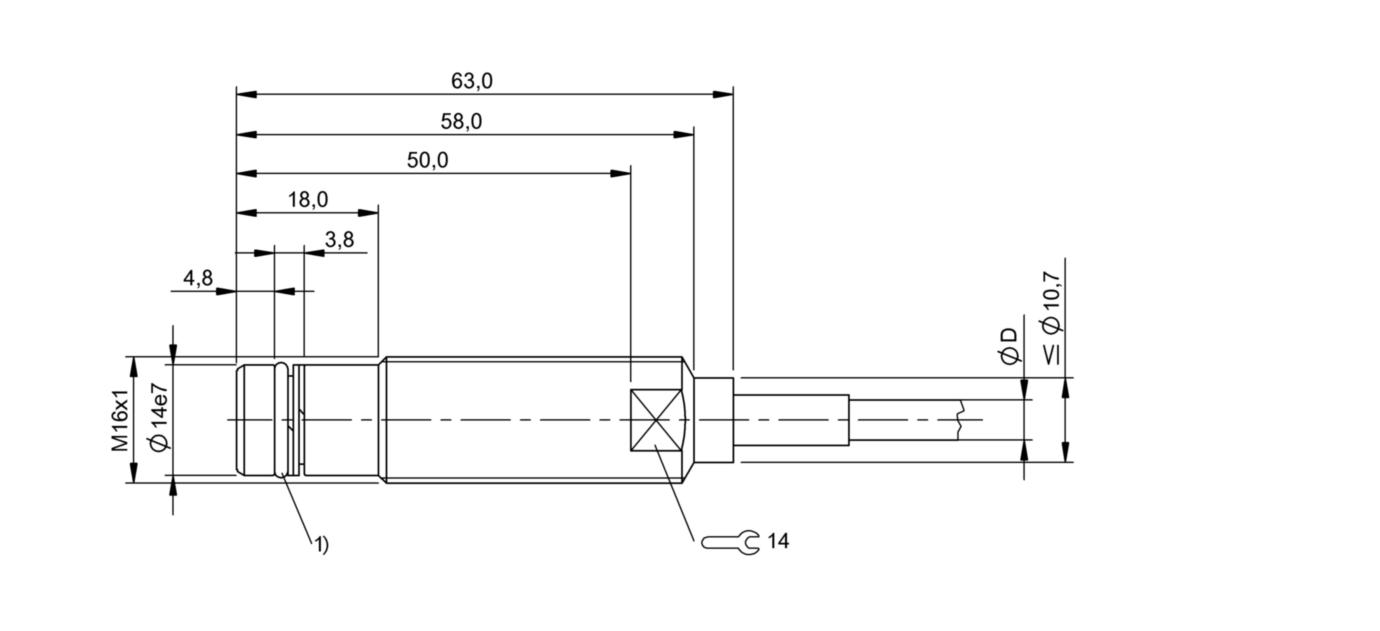 BES 516-300-S149-D-PU-05 (BHS001P) 耐高压接近开关-尺寸图