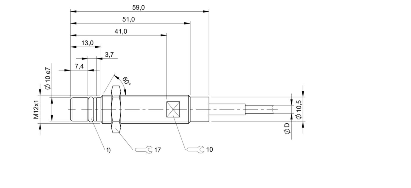 BES 516-300-S162-D-PU-05 (BHS001Z) 耐高压接近开关-尺寸图
