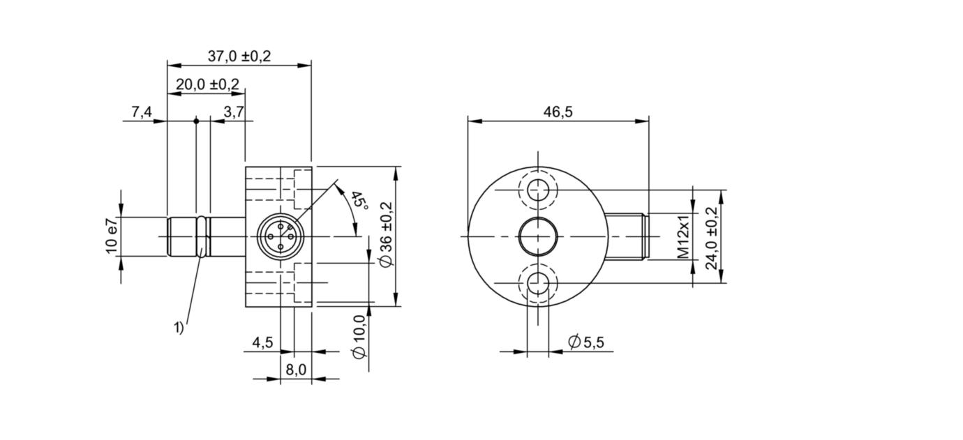 BES 516-300-S260-S4-D (BHS0030) 耐高压接近开关-尺寸图