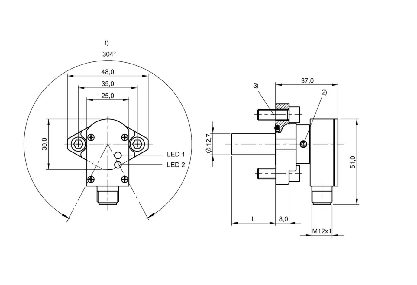 "BES 516-300-S295/1.875""-S4 (BHS0040) 耐高压接近开关-尺寸图"