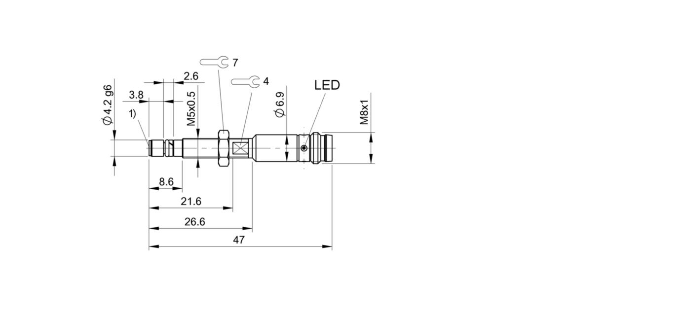 BHS G408N-POC10-S49 (BHS005F) 耐高压接近开关-尺寸图